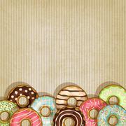 retro background with donut - stock illustration