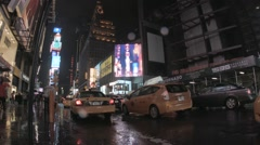 NY Time Square Cab at night - stock footage