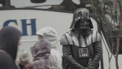 NY Time Square Darth Vader standing in the Street Stock Footage
