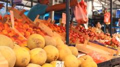 Watermelon, cantaloupe ,,zucchini potato Stock Footage