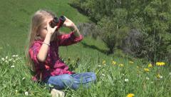 Child Looking in Binocular, Spyglass in Mountains Meadow, Tourist Girl in Trip Stock Footage