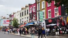 People walking in Camden Street, London Stock Footage