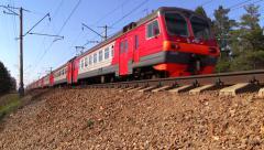 Russian railway. Red-gray suburban train of RZD. Stock Footage