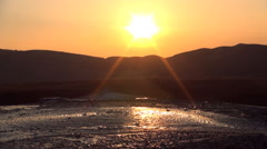 Visiting Mud, Muddy Volcanoes in Sunset, Landmark, Reservation in Buzau, Romania Stock Footage