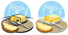 butter and sandwich - stock illustration