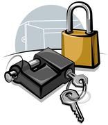 padlocks with keys - stock illustration