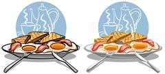 Stock Illustration of breakfast with eggs and bacon
