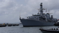 HMS ARGYLL british warship arrives to port 1 Stock Footage