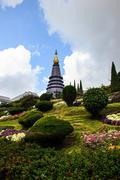 doi inthanon pagoda chiangmai thailand - stock photo