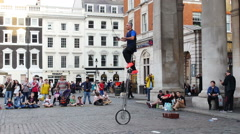 Juggler and acrobat in the street Stock Footage