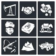 Afghanistan icon set Stock Illustration