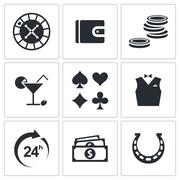 Casino and luck icon collection Stock Illustration