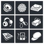 nightclub vector icon set - stock illustration