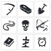 Death and burial icon collection Stock Illustration
