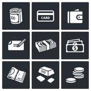Money icon collection Stock Illustration