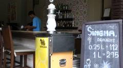 Thailand Pattaya 004 ravindra beach resort, bar, drink offer on a blackboard Stock Footage