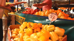Market place potato,tomato,cherrys,peach fruits and vegetables Stock Footage