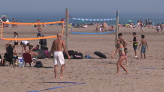 Scorching hot weather at Toronto beach with heat waves rising off the sand - stock footage
