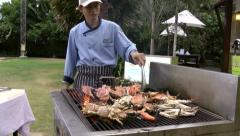 Thailand Pattaya 031 ravindra beach resort, preparing grilled seafoods - stock footage