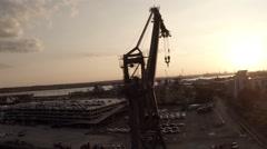 Dockside crane sunset southampton closeup Stock Footage