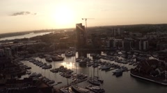 Southampton Water Sunset from the air, aerial shot Stock Footage