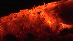 HD1080i Embers. Burning wood. Close up. Stock Footage