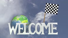 Stock Video Footage of Friendly invitation to come to visit CHEQUERED FLAG