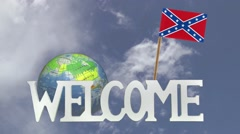 Friendly invitation to come to visit CONFEDERATE REBEL FLAG - stock footage