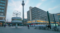 World Time Clock, T.V. Tower, Alexanderplatz Berlin, Germany, medium shot Stock Footage