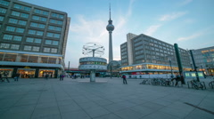 World Time Clock,T.V. Tower, Alexanderplatz Berlin, Germany Stock Footage
