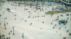 Alexanderplatz, Berlin, Germany, Aerial view of busy crowd walking Stock Footage