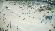 Stock Video Footage of Alexanderplatz, Berlin, Germany, Aerial view of busy crowd walking
