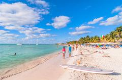 famous Playa del Norte beach in Isla Mujeres, Mexico - stock photo