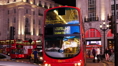 London red bus at Picadilly Circus in the night Stock Footage