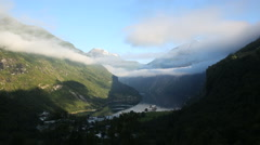 Early morning view of Geiranger Norway Stock Footage