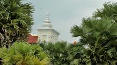 Thailand Pattaya 022 ravindra beach resort, pan from hotel rooftop to sand area Stock Footage