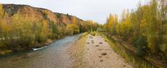 panoramic landscape with river in autumn - stock photo