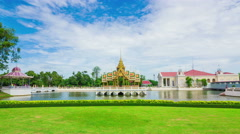 4k Timelapse of Golden temple, Aisawan Dhiphya-Asana Pavilion, Bang Pa-In Palace Stock Footage
