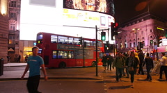 People at Picadilly Circus in the night Stock Footage