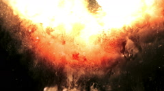 Ash ascending like in a real explosion against black background Stock Footage