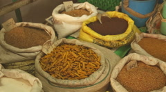 View of bags of spices in the local market in Galle. Stock Footage