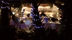 Thailand Pattaya 035 ravindra beach resort,evening scene,illuminated restaurant Stock Footage