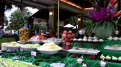 Thailand Pattaya 029 ravindra beach resort, pan over prepared buffet Stock Footage