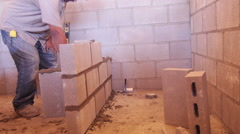 Construction putting in walls Stock Footage