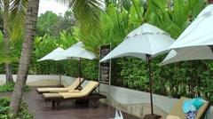 Thailand Pattaya 019 ravindra beach resort, row of sunshades and sun loungers Stock Footage