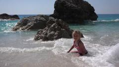 4K Child Playing in Beach Waves, Happy Little Girl on Tropical Exotic, Coastline Stock Footage