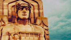 Guardians of Traffic statue in Cleveland, Ohio, Front - stock footage