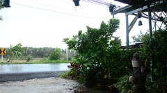 Rain strom with road location in Nonthaburi Thailand - stock footage