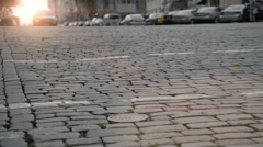 Paved road with crosswalk in city Stock Footage