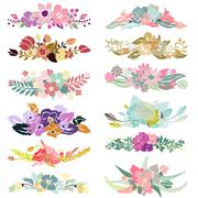 Stock Illustration of floral decorations  for invitations, cards, banners, scrapbook